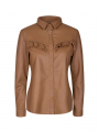 Mos Mosh Coco frill leather shirt - Toasted coconut