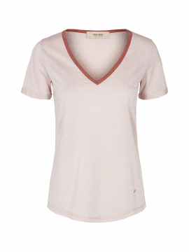 Mos Mosh Casio V-neck S/S tee - Pale rose