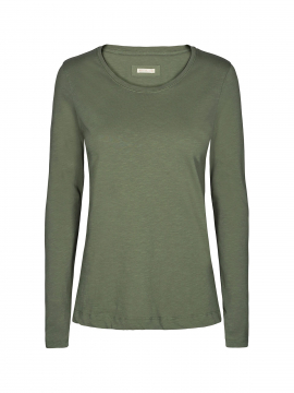 Mos Mosh Arden O-neck tee L/S - Olivine