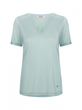 Mos Mosh Casio V-neck S/S Tee - Mint haze