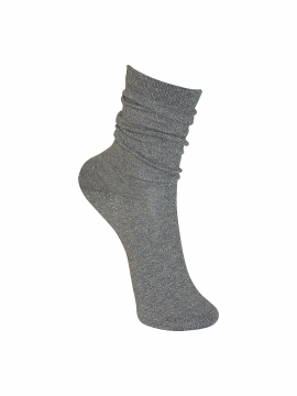 Black Colour Lurex sock - Silvergrey