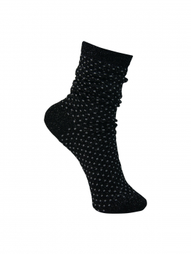 Black Colour Lurex dotted sock - Black / grey