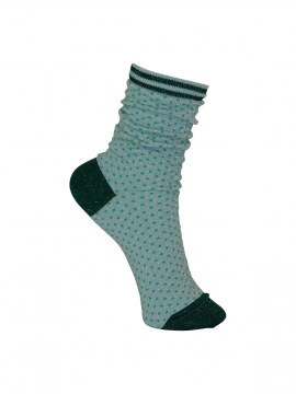 Black Colour Lurex dotted sock - Green