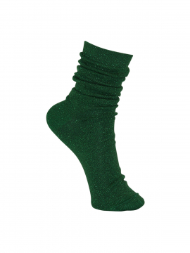 Black Colour Lurex sock - Green