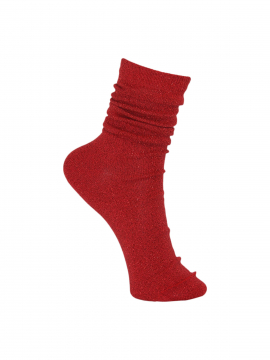 Black Colour Lurex sock - Red