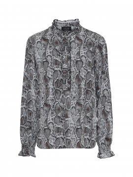One Two Luxzuz Djamilla snake shirt - Toffee