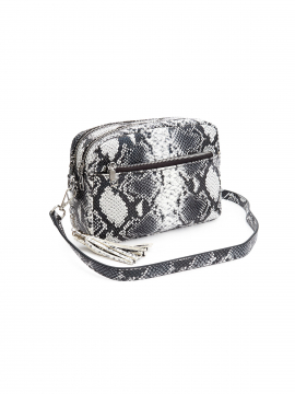 the Rubz Cindy medium snake crossbody - Black / white