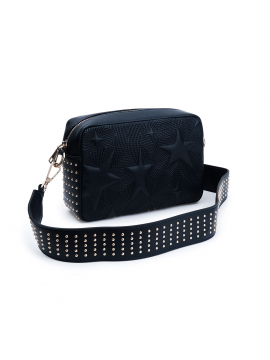 the Rubz Roxana medium studs quilt crossbody - Navy blue Grey morning