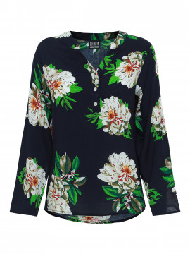 Chopin Sifa big flower shirt - Navy