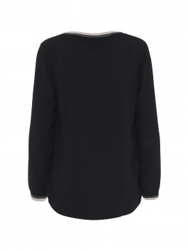 Chopin Julliette L/S V-neck top - Black