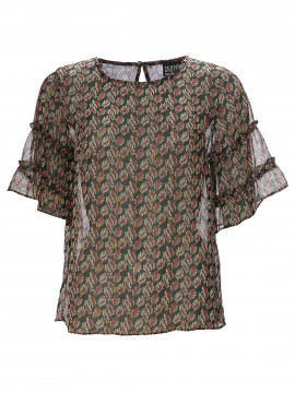 Chopin Fancy leaves top S/S - Green