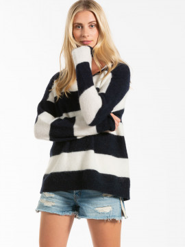 Blue Sportswear Mie Softlight Alpaca and marino wool knit - Navy/milk