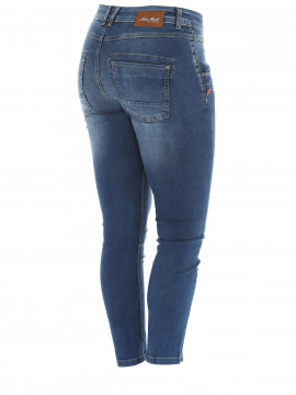 Mos Mosh Naomi sateen split 7/8 jeans - Blue denim