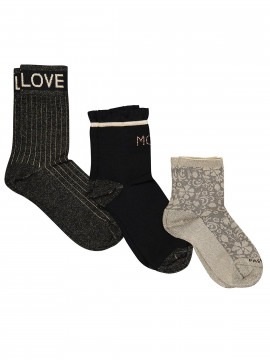 Mos Mosh Lurex socks 3 pack - Black