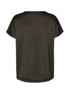 Mos Mosh Kay o-neck tee - Black w. gold lurex