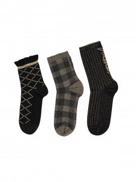 Mos Mosh Miramare socks 3 pcs - Black w. Gold lurex