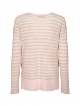 Mos Mosh Sophia Stripe V-neck cashmere knit - Chintz rose