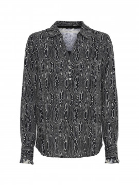 Costamani Malene snake shirt - Black
