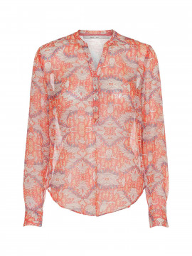 Costamani Alexia leaves shirt - Coral