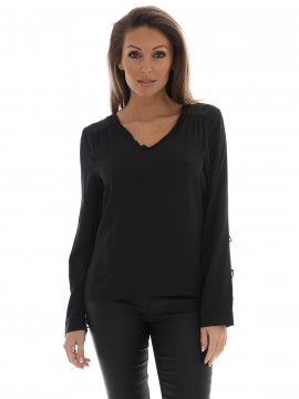 CS#15 Sjanna frill top -Black