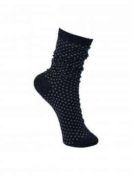Black Colour Lurex dotted sock - Navy / grey