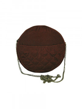 Black Colour Velvet round bag - Rose