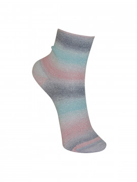 Black Colour Multi glitter sock - Light blue