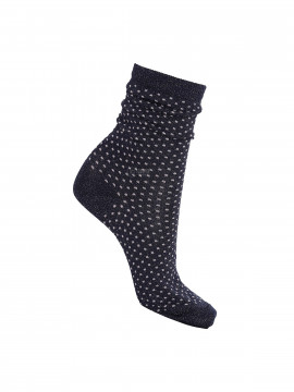 Black Colour Lurex dotted sock - Navy / rose