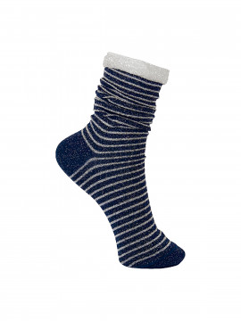 Black Colour Stripe sock - Navy / silver