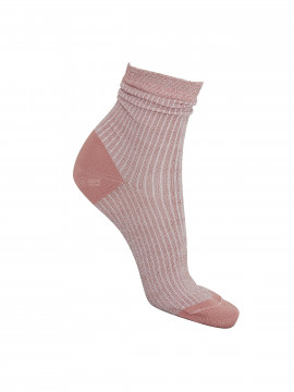 Black Colour Fancy rib sock - Rose