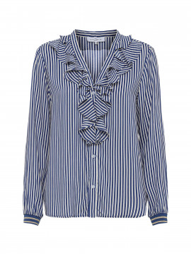 Continue Jean frill shirt - Navy / white