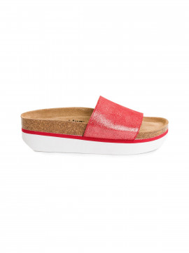 Blue on Blue Paris slippers - Red