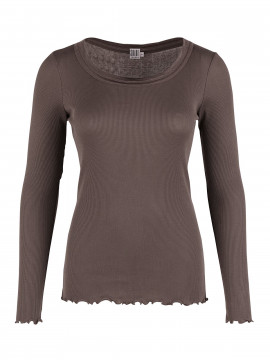 Saint Tropez Silk L/S top - Sparrow brown