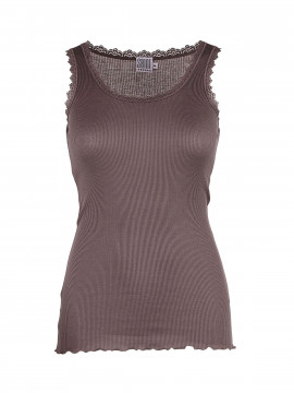 Saint Tropez Silk Lace top - Sparrow brown