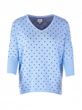 Saint tropez Dot knit 3/4 SL - Pl.Blue