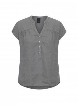 One Two Luxzuz Bonna linnen top - Slate grey