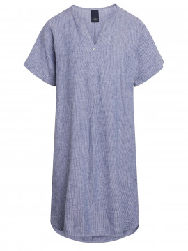One Two Luxzuz Helliana S/S narrow stripe dress - Indigo blue
