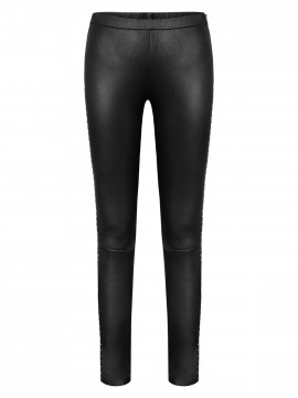 Depeche Madrid leather leggings w/studs - Gold