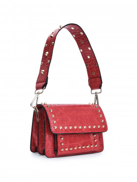 the Rubz Scarlett medium croc studs bag - Red