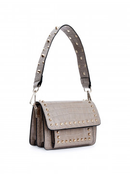 the Rubz Scarlett medium croc studs bag - Cream