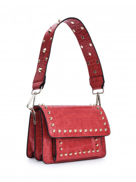 the Rubz Scarlett large croc studs bag - Red
