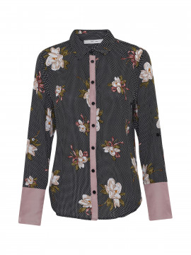 Costamani Linda dot flower shirt - Black