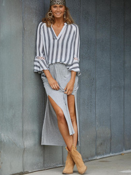 Costamani Meta stripe top - Black/white