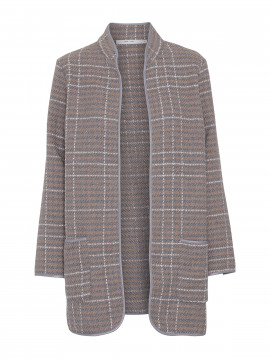 Costamani Dea check coat - Beige/grey