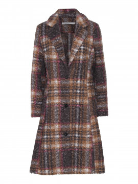 Costamani Beth check coat - Brown/Grey