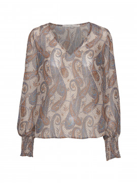 Costamani Inna paisley L/S top - Blue/brown
