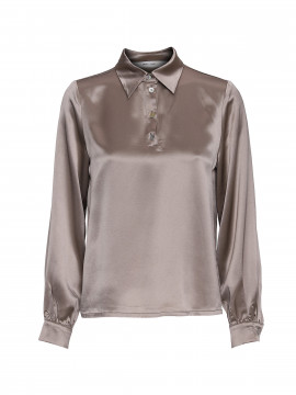 Costamani Bettie L/S satin shirt - Taupe