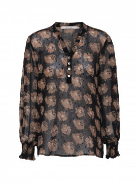 Costamani Iris big flower  shirt - Black