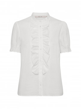 Costamani Poplin lace S/S shirt - White