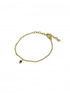 by Bram Bracelet - Gold w/red pearl